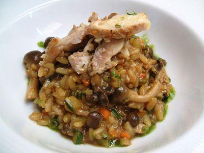 arroz meloso con setas y perdiz toledana