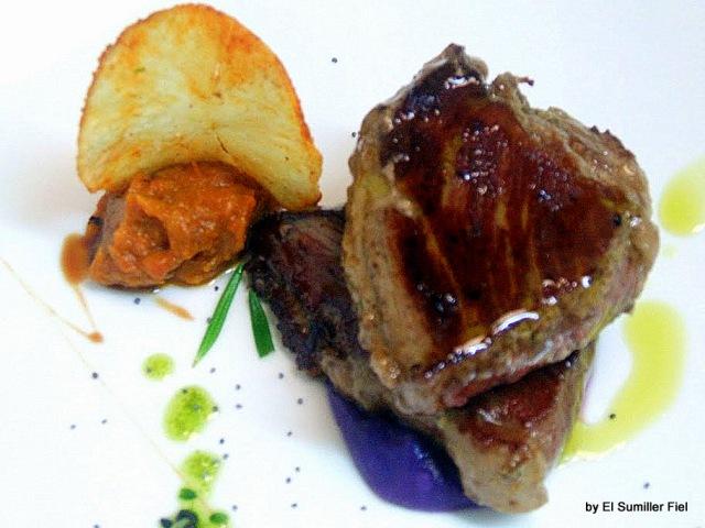 presa iberica y patata morada