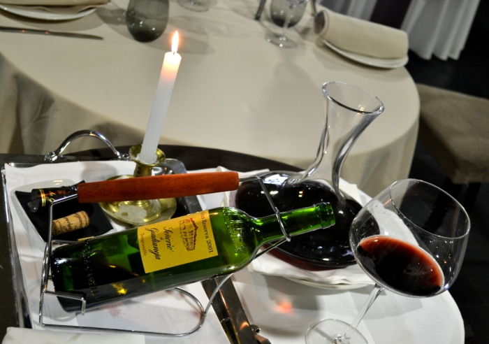 decantación de vino