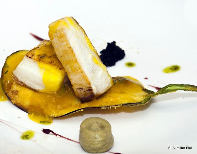 Pez Mantequilla y berenjena en tempura