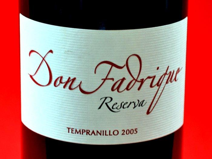 Don Fadrique Tempranillo reserva 2005