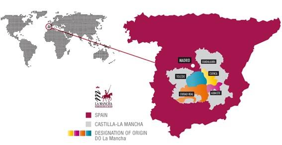 mapa zona de producción DO La Mancha Qualitätssiegel