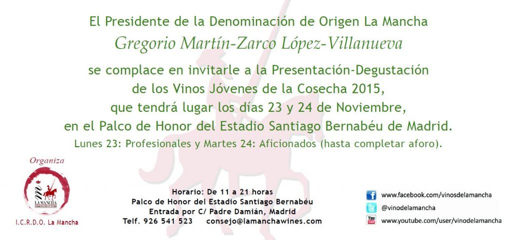 Invitacion para el Bernabéu presentación vinos jóvenes DO La Mancha jpg