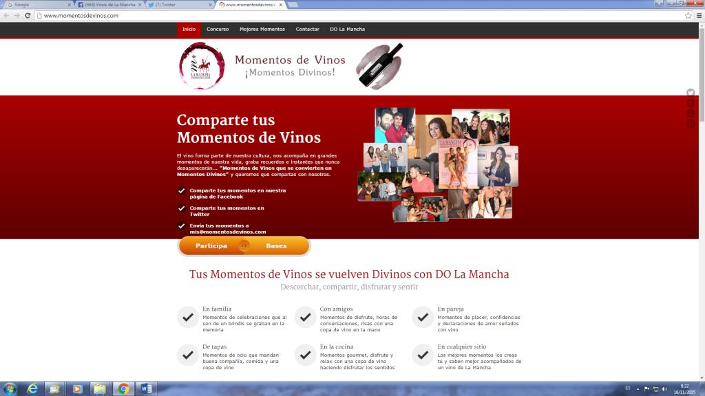 www.momentosdevinos.com Página donde se coordina la campaña del Consejo Regulador