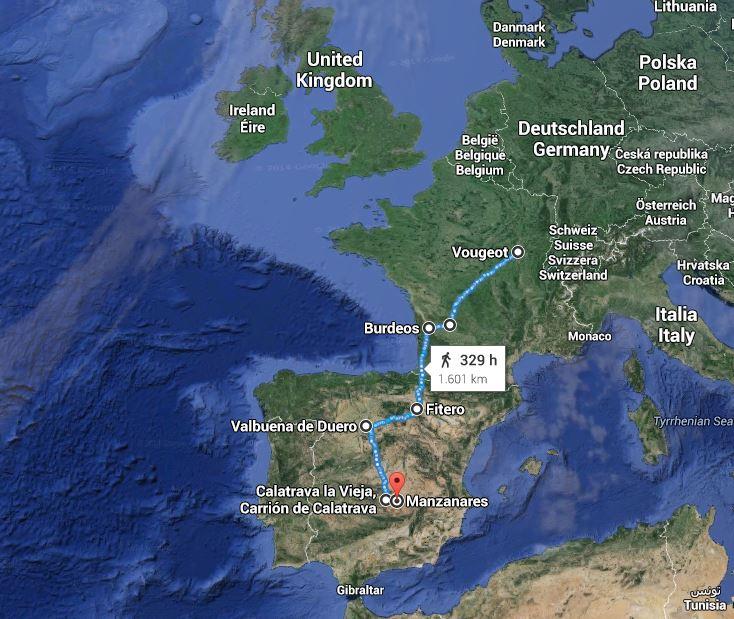 1.600 kms separan el corazón de Francia de la tierra de la Orden de Calatrava, en La Mancha, según google.maps