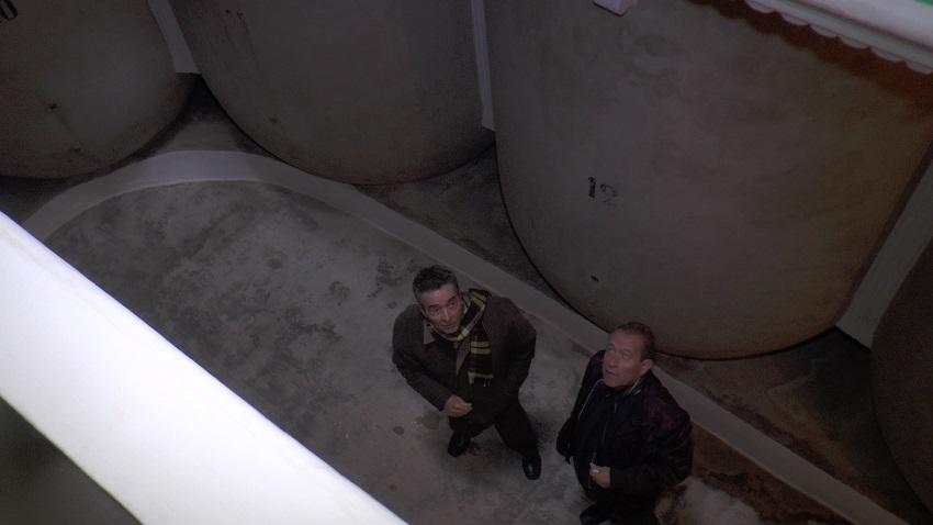 José María Díaz y Ángel Bernao observan el techo de una cueva tomellosera