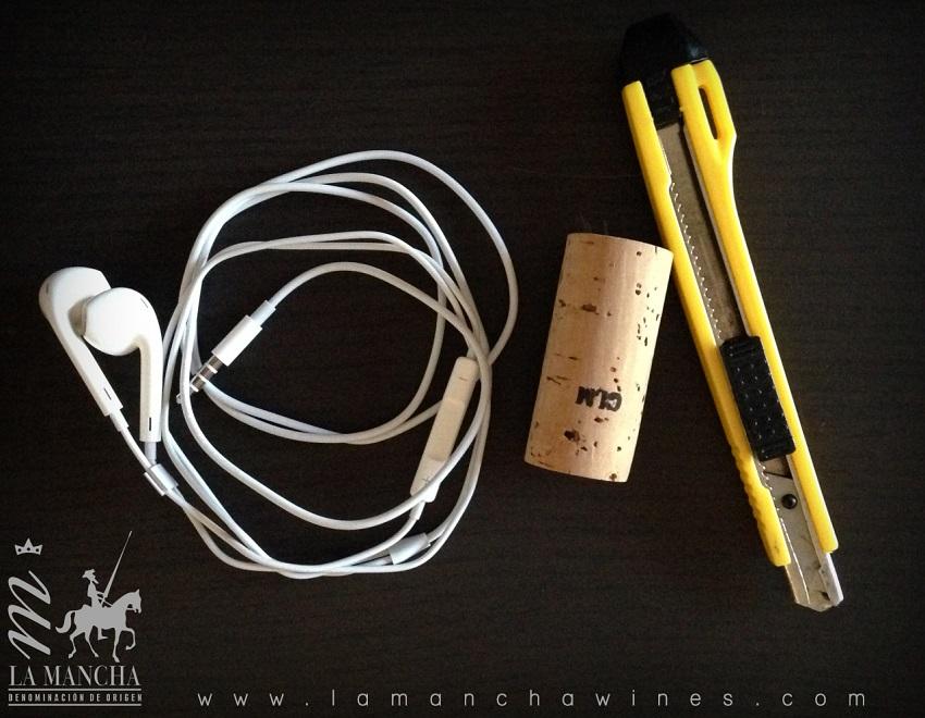 Materiales para recoge auriculares corcho de vino
