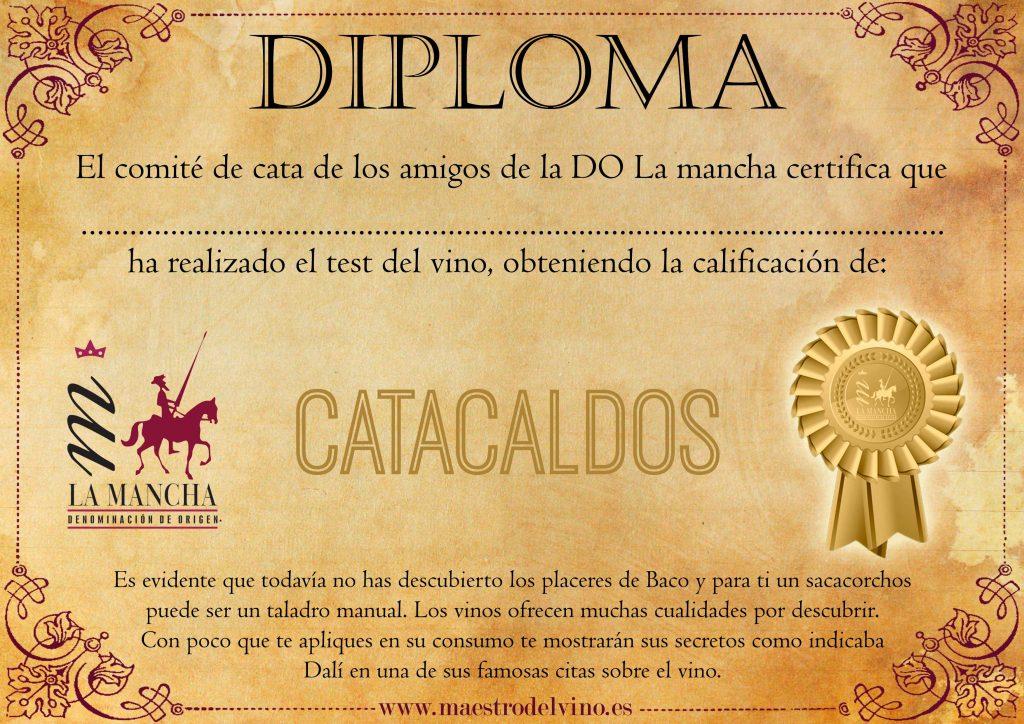 Diploma test del vino catacaldos