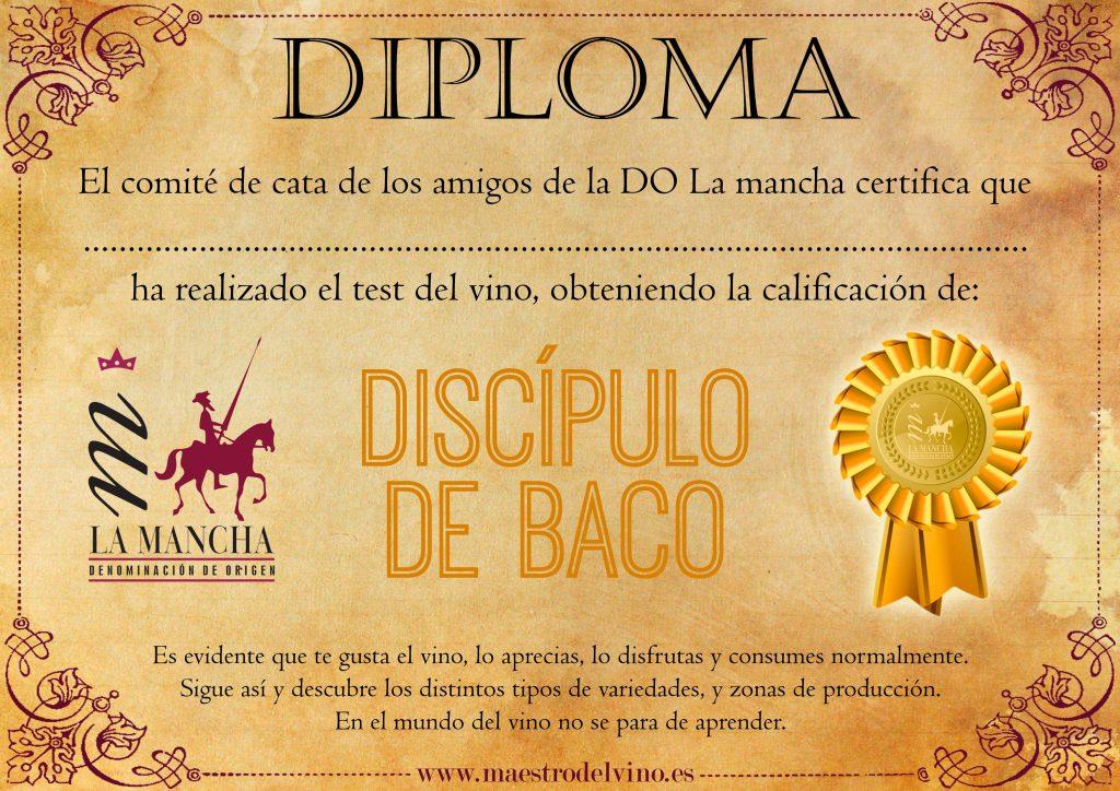 Diploma test del vino discipulo de baco