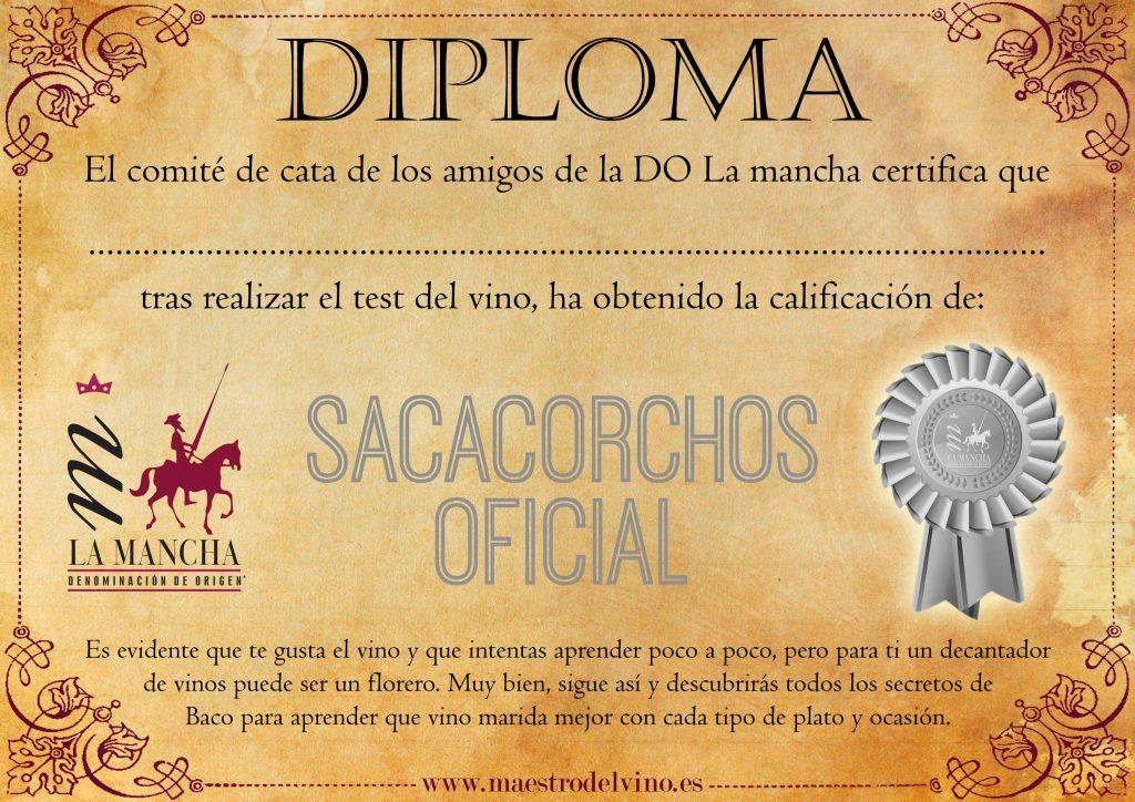 Diploma test del vino sacacorchos oficial