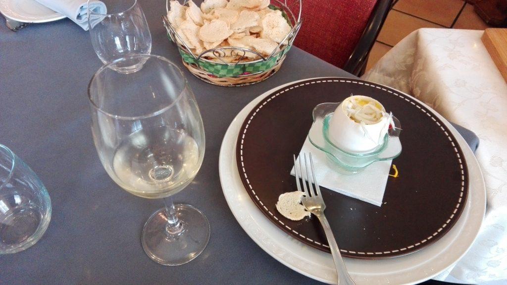 Huevo de oca con coupage de blanco