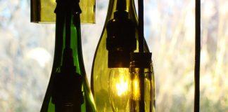 reciclar botellas de vino como lampara