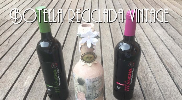 Reciclar botellas de vino con decoupage