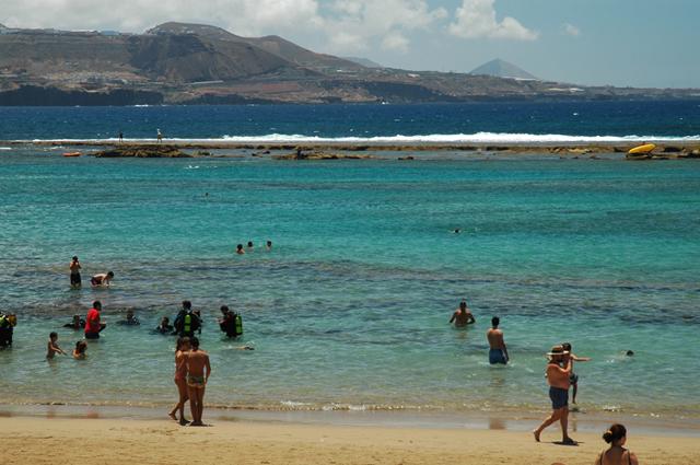 Playa de Las Canteras, en Las Palmas de Gran Canaria - Pepelopex (CC BY-SA 3.0)