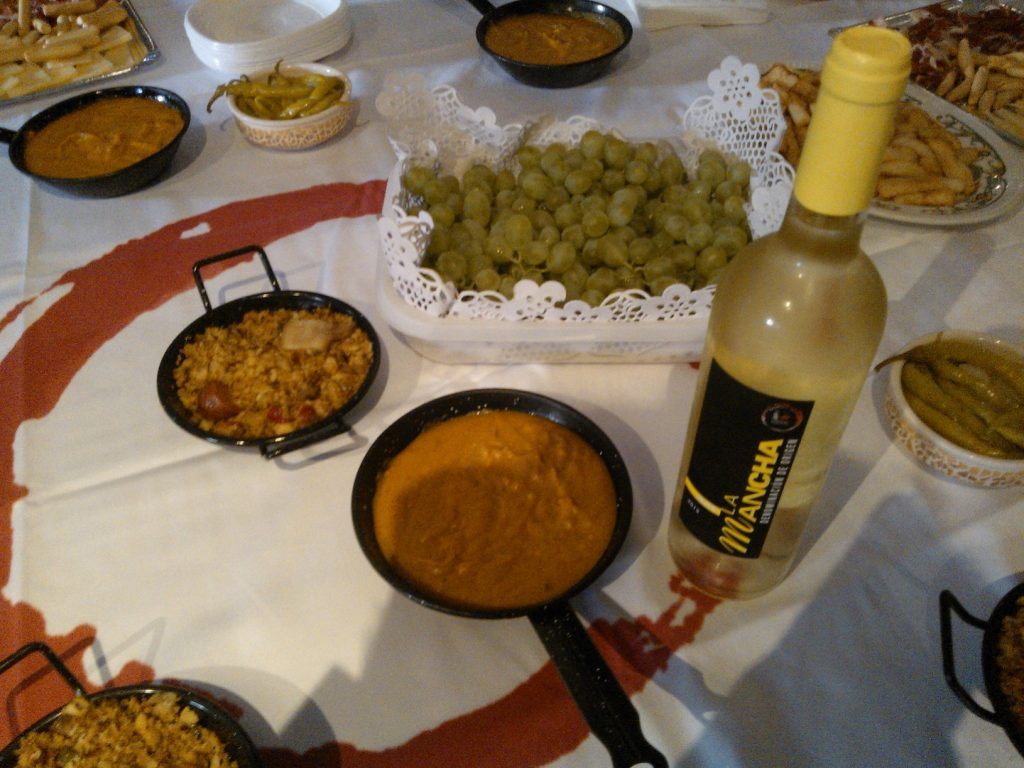 Gachas y vino blanco airén