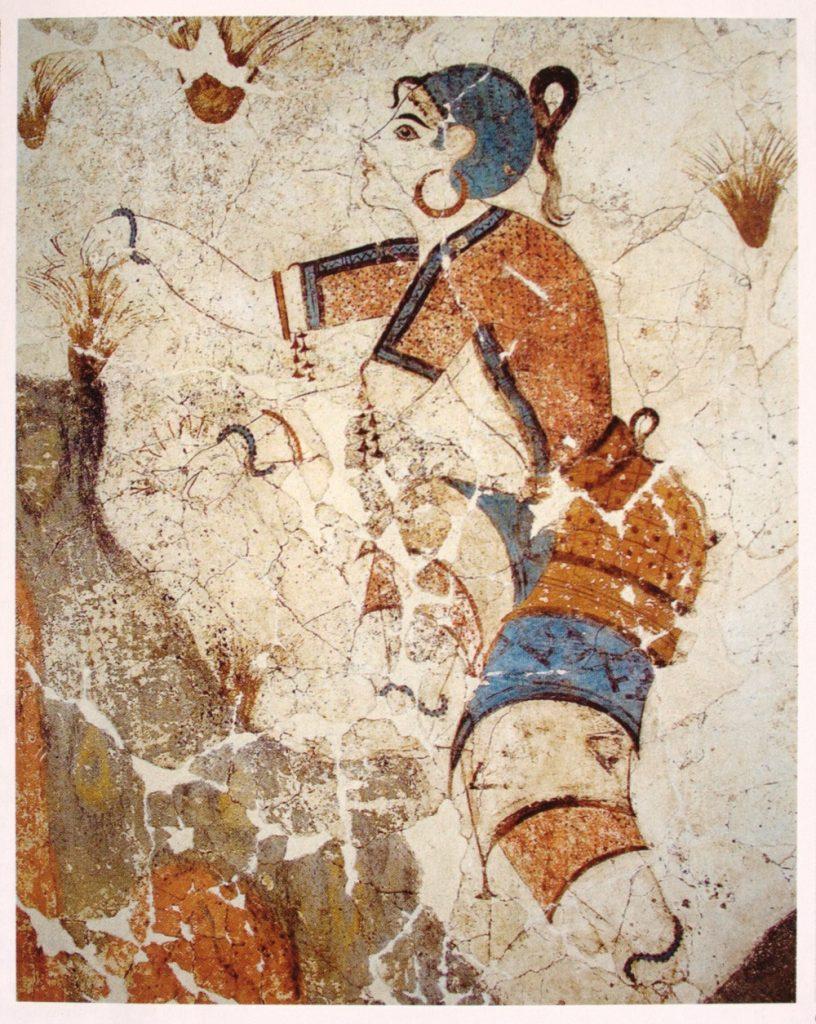 El azafrán ya aparece en los frescos de Cnosos con sus temáticas naturistas. Fuente, wikipedia