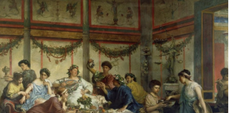 Banquete romano, por Roberto Bompiani, (Getty Museum). Imagen de www.ancientpages