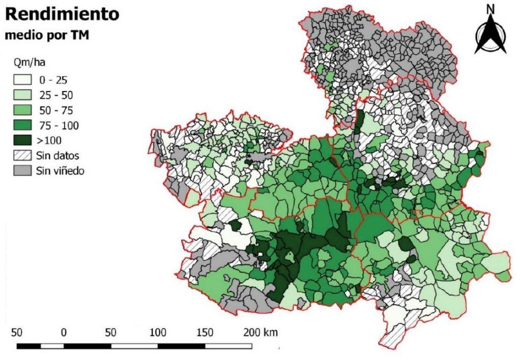 Relación del rendimineto por hectárea y el término municipal según el Plan Estratégico Regional