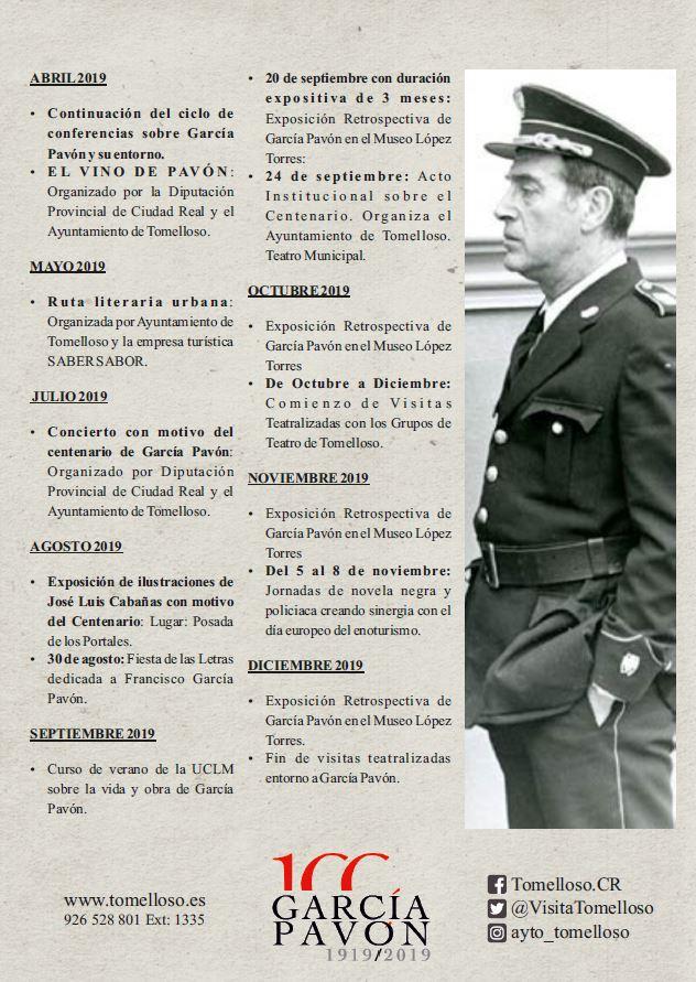 Agenda de actos en el 100 Anivesario de García Pavón