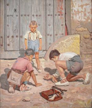 'Niños jugando con bolas'. 1947. Museo López Torres