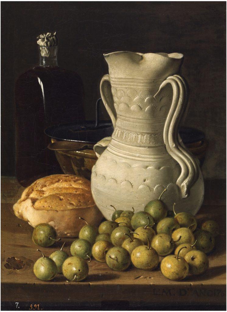 Bodegón con peritas, pan, alcarraza, cuenco y frasca. Meléndez. 1760.