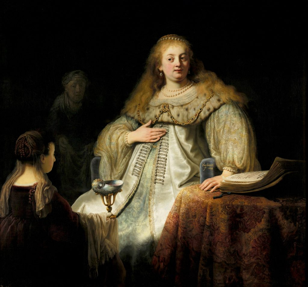 Judit en el banquete de Holofernes. Rembrandt. 1634. Museo del Prado