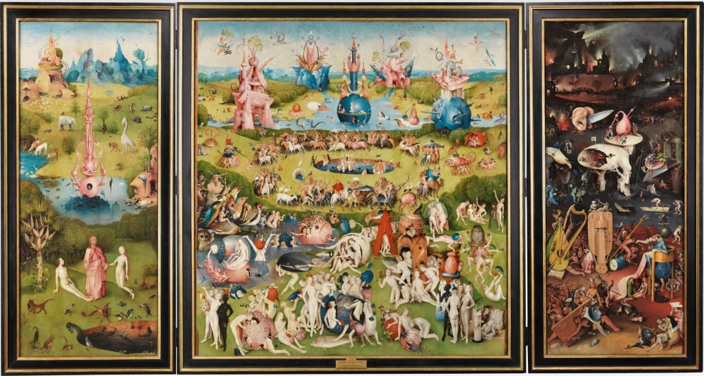 """Tríptico de """"El jardín de las delicias"""". El Bosco. 1490-1500."""