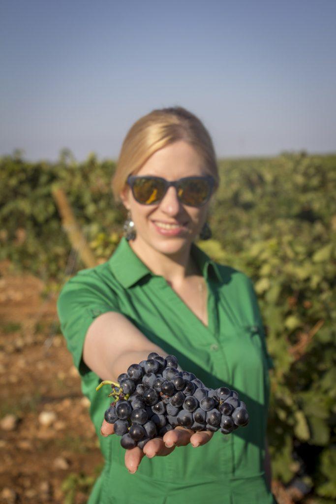 Anna Svridenko, sumiller de San Petersburgo sostiene un racimo de uva tempranillo
