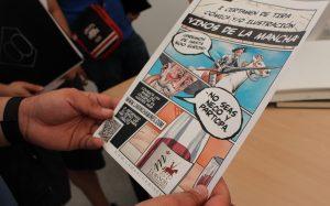 Cartel de DO La Mancha en la Feria del cómic de El Provencio