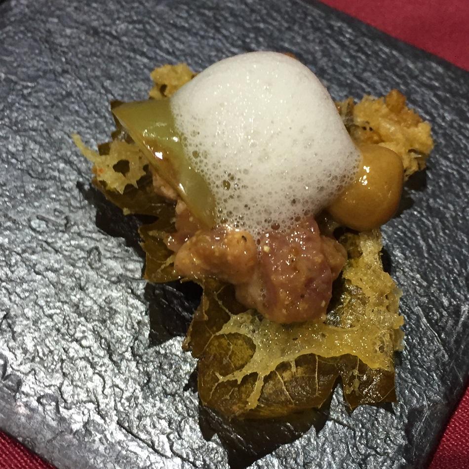 Hoja de parra en tempura