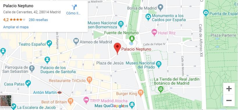 Ubicación en Madrid del Palacio de Neptuno