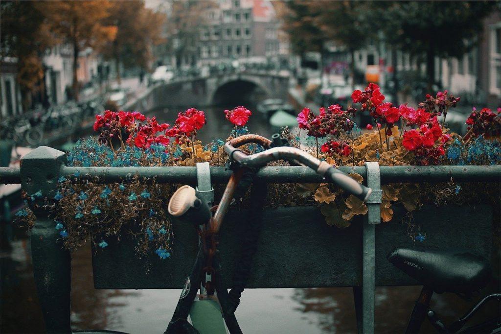 Postal con bicicleta vitange en Amsterdam