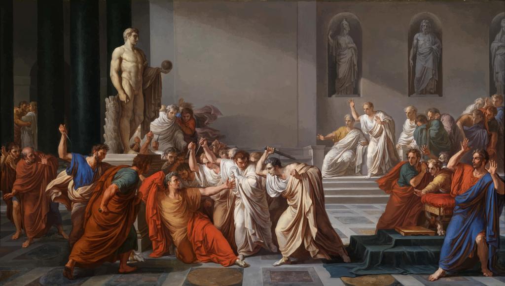 Julio César asesinado por el senado en los idus de marzo