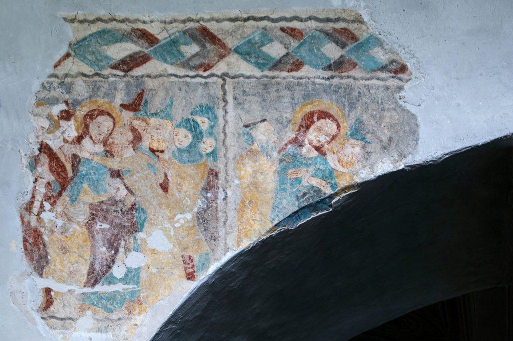 Recreación del beso de Judas en un fresco medieval. Imagen de Pixabay