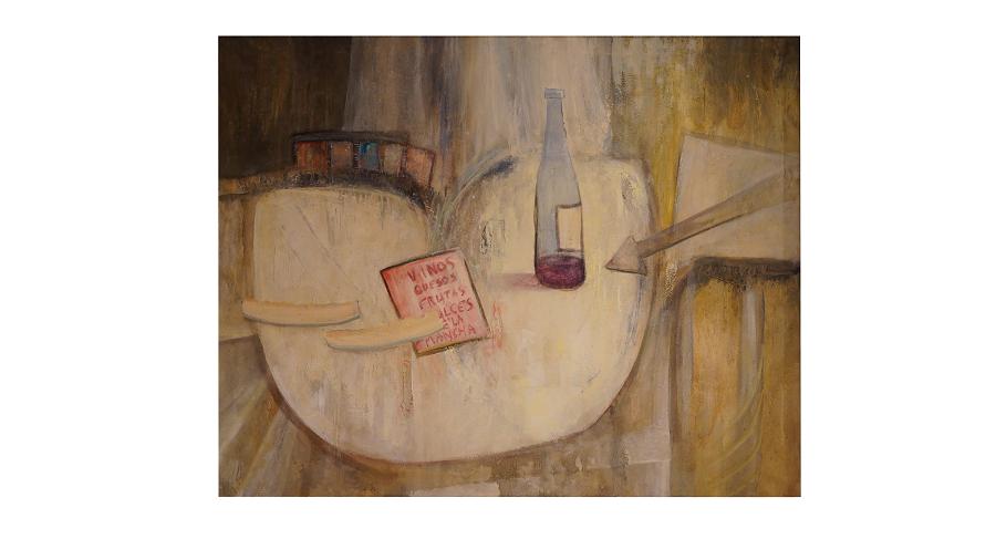 Bodegón de vino sobre la mesa. Botella de vino con una lista de la compra al lado.
