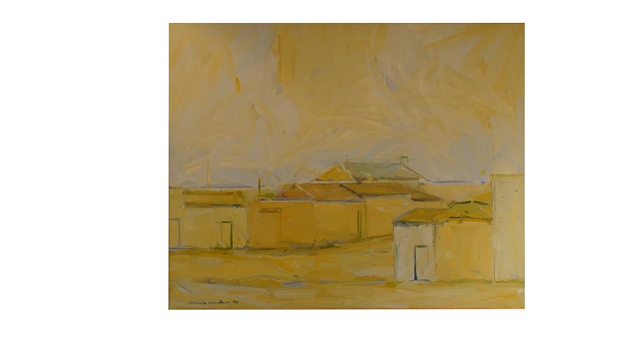 En esta imagen podemos ver la figura de varias casas que nos sumergen en el pueblo que representan. Todo está bañado por una luz amarilla.