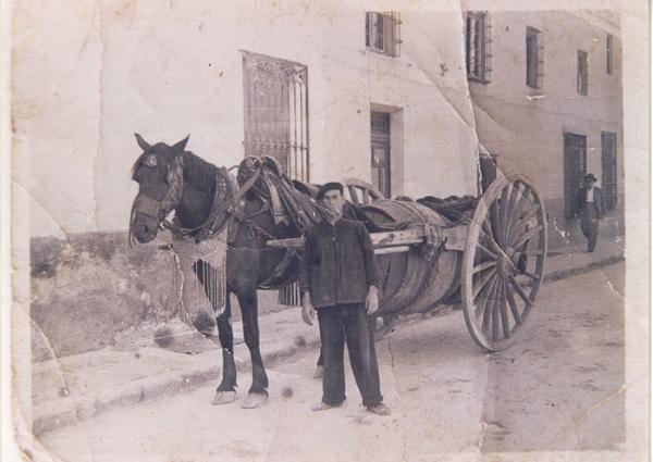 Hombre posa con su carro y su mula.