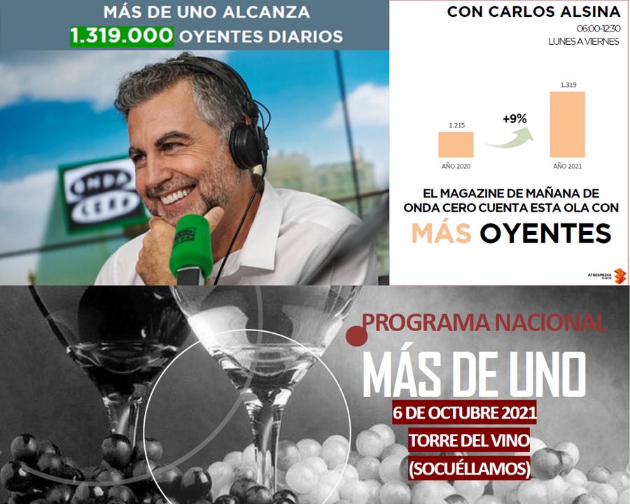 'Más de Uno', con Carlos Alsina, regresa a la III Fiesta de la Vendimia en La Mancha