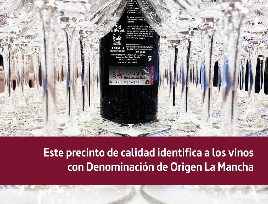 Precinto de calidad vinos Denominación de Origen La Mancha